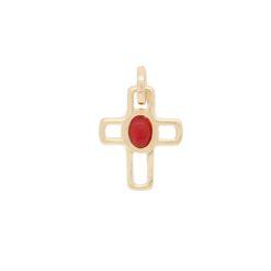pendentif croix évidée argent doré cabochon corail rouge de méditerranée