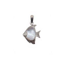pendentif poisson scalaire argent et nacre blanche