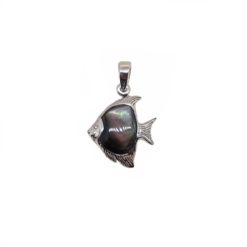 pendentif poisson scalaire argent et nacre grise