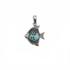 pendentif poisson scalaire argent ,nacre bleue paua