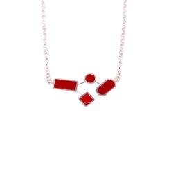 tour de cou chaîne argent et quatre motifs corail rouge méditerranée