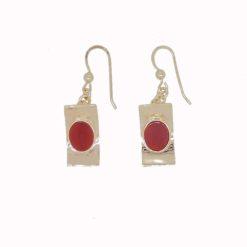 boucles d'oreilles pagode crochet argent doré corail rouge de méditerranée corse