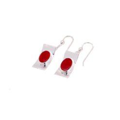 boucles d'oreilles argent motif pagode encastrement ovale corail rouge de méditerranée
