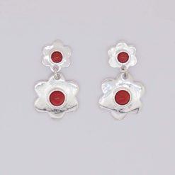 boucles d'oreilles doubles fleurs argent avec cabochons rond corail rouge méditerranée