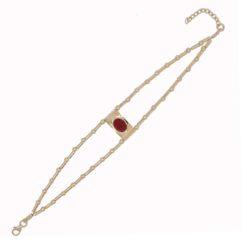 bracelet double rangs tubes argent doré avec un motif pagode corail rouge de méditerranée
