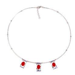 collier motif pagode cabochon corail rouge de méditerranée