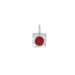 pendentif carré argent martelé cabochon rond corail rouge de méditerranée