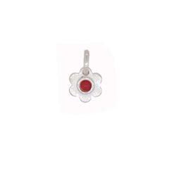 pendentif fleur argent cabochon rond corail rouge de méditerranée petite taille
