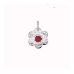 pendentif fleur argent cabochon rond corail rouge de méditerranée taille moyenne