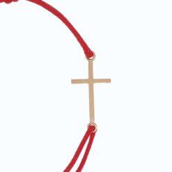 bracelet cordon rouge croix grand modèle or jaune