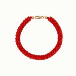 bracelet tissé perles corail rouge de méditerranée fermoir or jaune