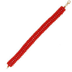 bracelet tissé corail rouge méditerranée large