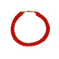 bracelet tissé perles corail rouge méditerranée