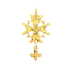 Pendentif or jaune 18k croix huguenote