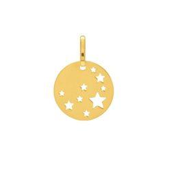 pendentif plaque ronde avec étoiles