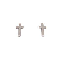 boucles d'oreilles croix or blanc système poussette
