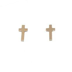 boucles d'oreilles croix or jaune 18k
