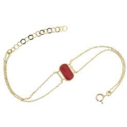 bracelet argent doré motif ovale en corail rouge de méditerranée