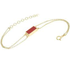 bracelent en argent doré avec motif rectangle en corail rouge de méditerranée