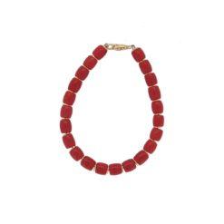 bracelet barillet corail rouge méditerranée intercalaires argent doré