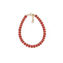bracelet rondelle corail méditerranée intercallaire argent doré