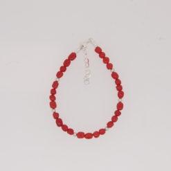 bracelet perles baroquées corail rouge de méditerranée boules chaînettes et fermoir argent
