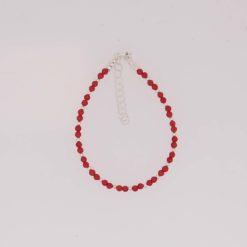 bracelet perles corail rouge de méditerranée boule et fermoir argent