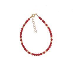 bracelet perles corail rouge de méditerranée boules et fermoir argent doré