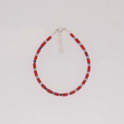 Bracelet tubes corail méditerranée carré hématite fermoir et chaînette argent