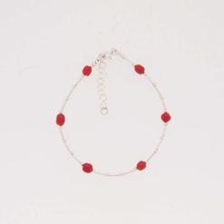 Bracelet tubes, boules chaînette et fermoir argent et six morceaux corail rouge méditerranée