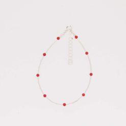 bracelet tubes argent doré avec perles corail rouge de méditerranée