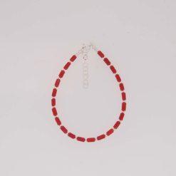 bracelet tubes corail rouge de méditerranée fermoir anneau argent
