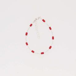 Bracelet tubes corail méditerranée , tubes, boules chaînette et fermoir argent.