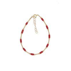 bracelet tubes corail rouge méditerranée tubes boules et fermoir argent doré