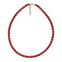 collier barillet corail rouge méditerranée intercalaires argent doré