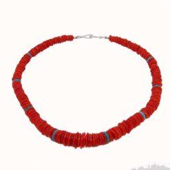 collier rondelles corail rouge de méditerranée corsica et turquoise fermoir argent