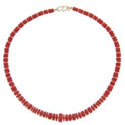 collier rondelles corail rouge méditerranée et intercalaires argent dore