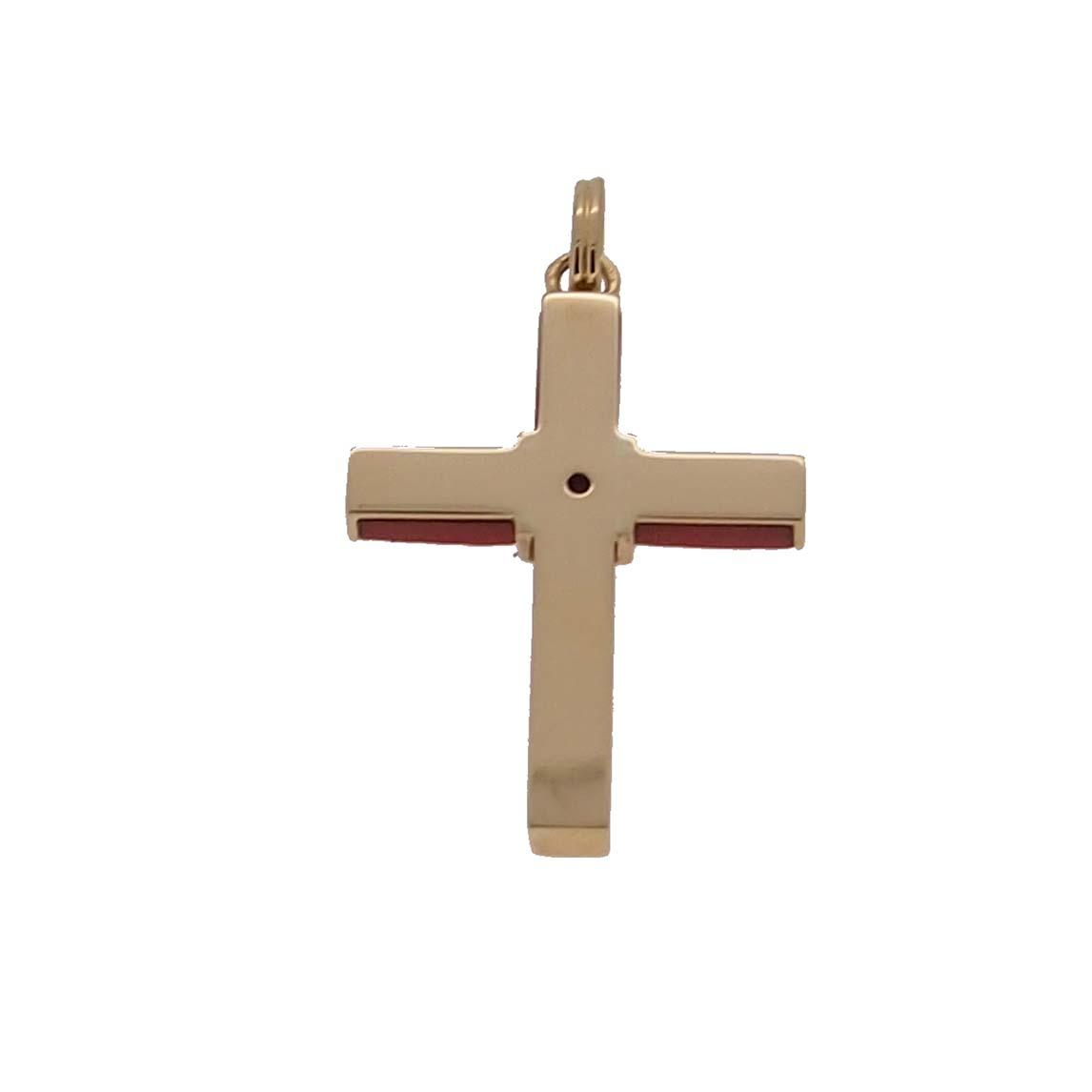 pendentif croix or jaune 18k et corail rouge de méditerranée