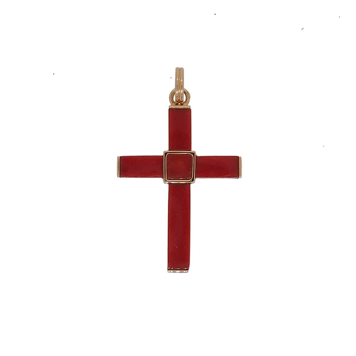 pendentif croix or jaune et corail rouge de méditerranée