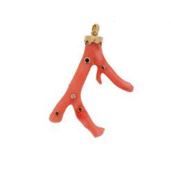 pendentif branche corail rose japon diamants émeraude or jaune