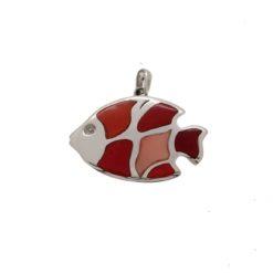 Poisson argent corail rouge méditerranée et rose du japon
