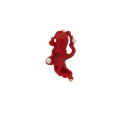 pendentif poulpe corail rouge mediterranée et akoya