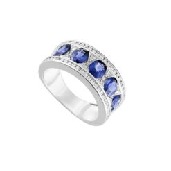 bague or blanc 18k cinq saphirs et pavage diamants