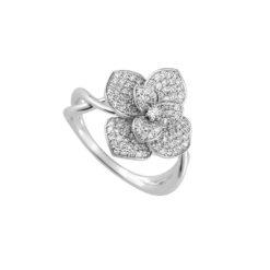 bague fleur or blanc 18k pavée diamants