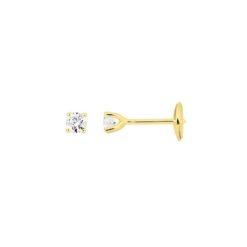 boucles d'oreilles or jaune 18k puce diamants