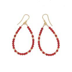 boucles d'oreilles crochets argent doré perles corail rouge méditerranée