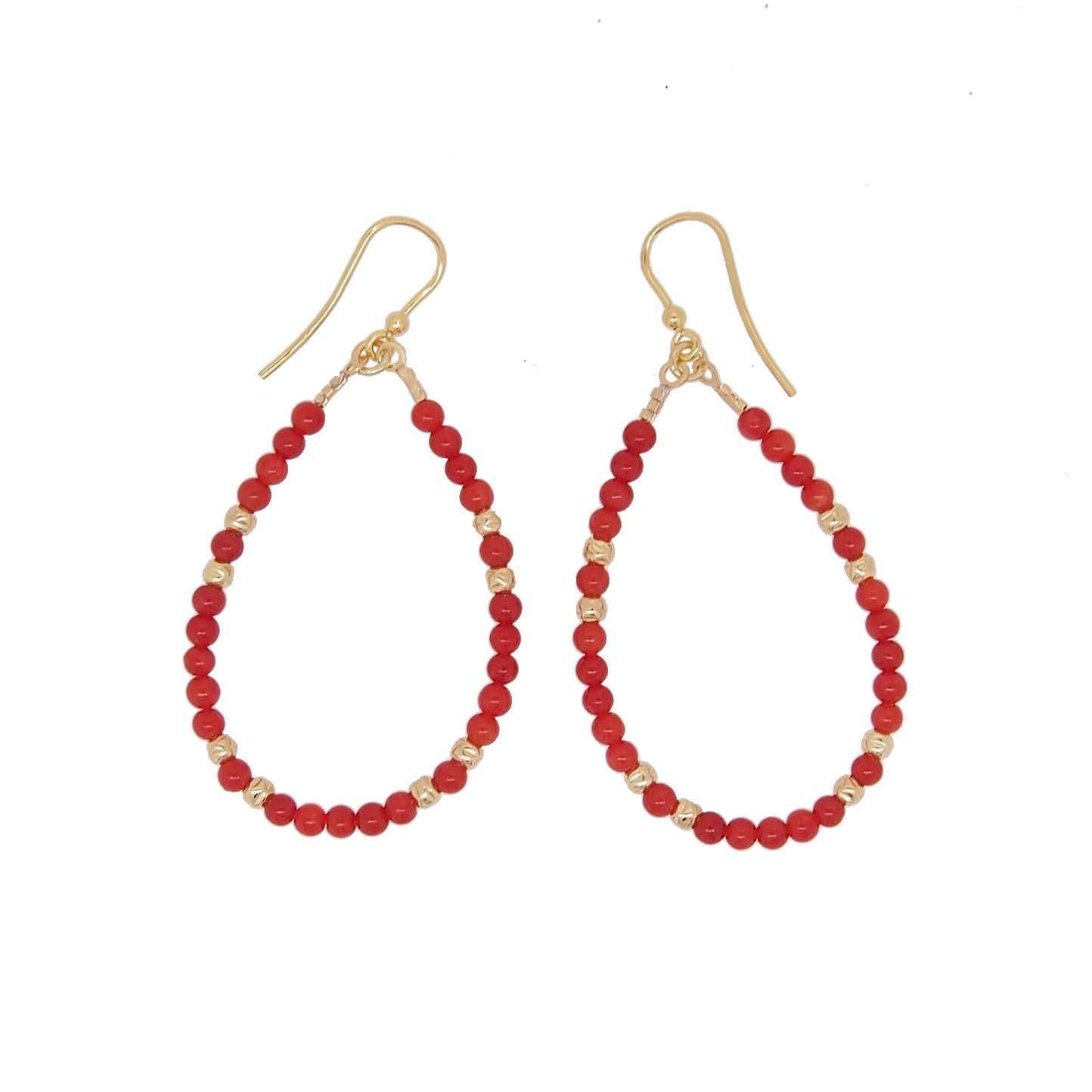 Boucles d/'oreilles Clous Doré Faux Perle Branche Corail Email Rouge DD12