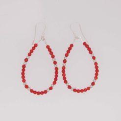 boucles d'oreilles perles corail rouge méditerranée boules et fermoir crochet argent