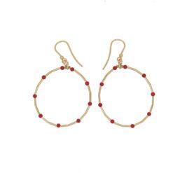 boucles d'oreilles créoles perles corail méditerranée rouge corse tubes argent doré