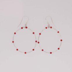 boucles d'oreilles tubes corail rouge méditerranée perles corail rouge méditerranée crochet argent